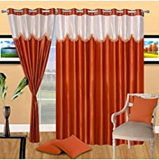 Panipat Textile Hub 3 Piece Polyester Door Curtain - 213 x 121 cm, Orange