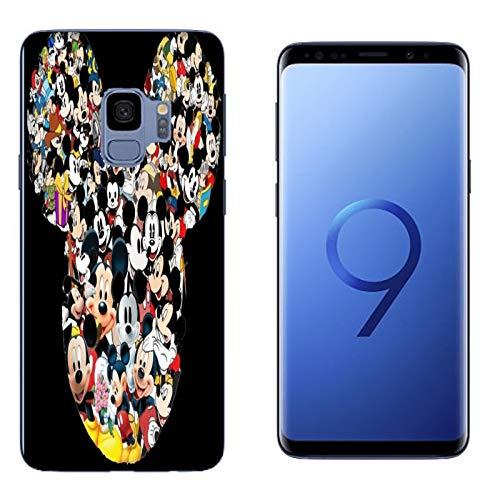 e Samsung Galaxy S9 Minnie und Maus Viele Gesichter Mickey Mouse/Cover Druck auch an den Seiten/Anti-Rutsch Anti-Rutsch Anti-Scratch Schock-resistenten Schutz Schutzulle Starre ()