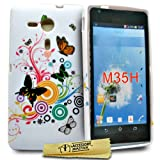 Accessory Master Housse en silicone Sony Xperia SP M35H Motif Papillon/Fleur Blanc