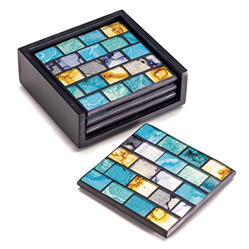Set of 4 Fair Trade Coasters in Turquoise and gold mosaic