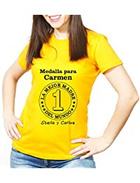 Calledelregalo Regalo Para Madres Personalizable: Camiseta 'Medalla a La Mejor Madre' Personalizada con Su Nombre y el tuyo/vuestro