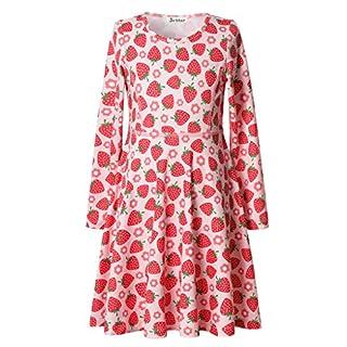 Jxstar Mädchen A-Linie Kleid Gr. 8-9Jahre/Höhe:140 cm(140 cm), erdbeere