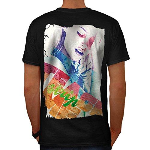 Mädchen Gesicht Streifen Mode Verführung Herren M T-shirt Zurück | (Perücke Schwarze Verführung)