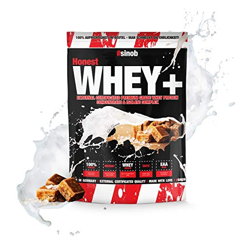 sinob Honest Whey Protein - Salty Caramel - 1 x 1000 g. 12,5% Isolate Anteil. Instant lösliches Eiweißpulver mit BCAA & EAA 'Hergestellt in Deutschland'