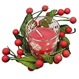 Land-Haus-Shop Weihnachtskerze Glas mit Beerenkranz