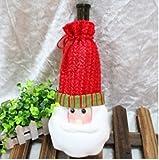 Pasabideak 1PCS Romantische Weihnachts Elch Weihnachtsmann Bell Sled Chimney Rotweinflasche Set Rotwein Tasche (Santa Claus)