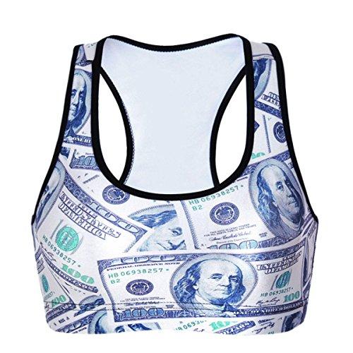 WKAIJCC Femme Sous-vêtements Sport Soutien-gorge Numérique Imprimé Soutien-gorge Course à Pied Respirant Yoga Fitness Yoga F
