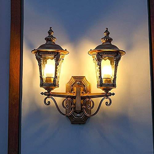 YYDIANZ Außenwandleuchte Traditionelle Leuchte Mediterrane Veranda Bronze Scroll Champagner Gehämmertes Glas for Außen Haus Veranda Patio Deck (E27 * 2)