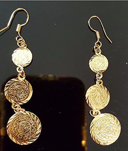 islamischen Muslim Edelstahl Edelstahl Damen Mädchen Frauen 3-coin Ohrringe 18 K Vergoldet Edelstahl