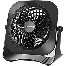 Portátil Ventilador USB de Escritorio - Glamouric Ventilador Pequeño y Silencioso con 2 Velocidades Rotación 360º, Su Recirculador Personal de Aire para Viaje, Estudio, Trabajo, Casa (Cuadrado)