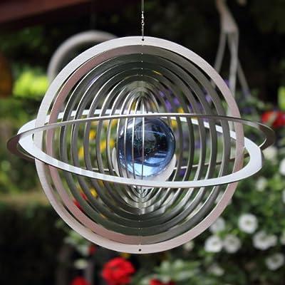 """Windspiel Mobile """"SATURN"""" mit 50 mm Glaskugel aus Edelstahl -Farben nach Wunsch-absolut Wetterfest- von Hamburg-Trade - Du und dein Garten"""