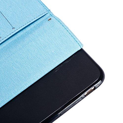 Etsue Bling Strass Leder Handyhülle für iPhone SE/iPhone 5S Schmetterling Ledertasche Schutzhülle, Elegant Luxus Glitzer Diamant Blumen Leder Flip Case Butterfly Wallet Tasche Cover Hülle Magnetversch Diamant,Blau