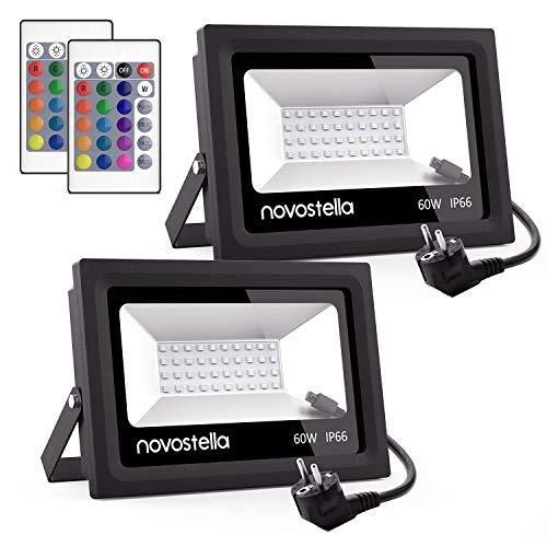 Ustellar Novostella 2er RGB 60W LED Strahler mit Fernbedienung, IP66 Wasserdicht 16 Farben 4 Modi LED Fluter Scheinwerfer, LED Außenleuchten Stimmungslichter, für Garten Innen- und Außendekoration -