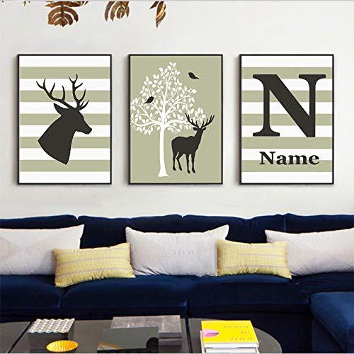 Leinwand Gestreifte Abstrakte Tree Deer Poster Moderne Impressionistische Kunst Bild Mode Leinwandbild Wandhauptdekoration Zimmer Kein Rahmen - Gestreifte Leinwand