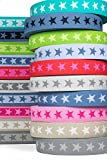 Sehr hochwertiges elastisches Gummiband mit Sternen 40 mm beidseitig verwendbar in vielen Farben zur Reparatur und Gestaltung von Hosenbändern oder Jogginganzügen (grau)