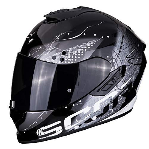 Scorpion - Casco integrale EXO-1400 classy nero argento in fibra di carbonio per scooter moto con visiera interna SpeedView solare retrattile, protezione calotta esterna TCT (XS)