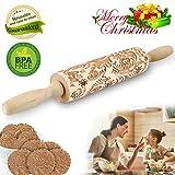 Mattarello Natale In Legno Rolling Pin per biscotti e pizza Utensile da Cucina in Rilievo di Legno Inciso a Forma di mattarello Inciso di Natale, Goffratura Mattarello, Mattarello di Pane di Pasta