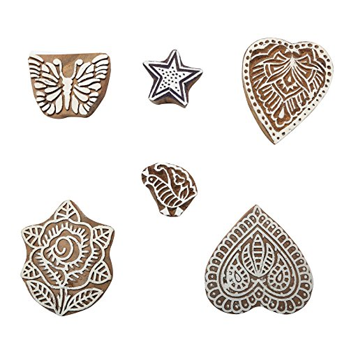 CRAFTSTRIBE Indian Printing Block-Mix Stamp Hand Craved Holz Briefmarken Textil Stempel 6 PC -