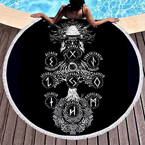Unicolor celta símbolo redondo playa borlas vikingo