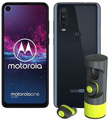 Motorola One Action (6.3 Pouces, 4Go RAM, 128Go ROM, Double Nano SIM, Android One) Gris Bleuté [Offre limitée: Ecouteurs VerveOnes + ME offerts]