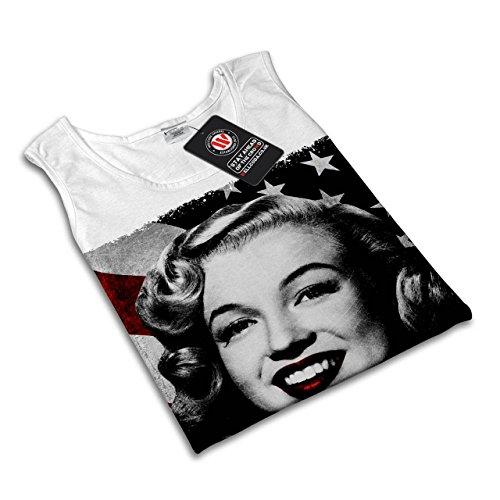 Monroe USA Star Berühmtheit Monroe Star Damen S-2XL Muskelshirt   Wellcoda Weiß