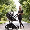Hot Mom Limited Edition Kombikinderwagen mit Buggyaufsatz und Babywanne Travelsystem Funktion new 2020, Kinderwagen 3 in 1Funktion, Babyschale extra Kaufbar - Schwarz