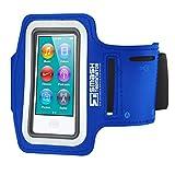 Smash Terminator ® Apple iPod Nano Touch/Nano 7, maßgefertigt, reflektierend, für Sport/Joggen/Laufen) Gym Sport Armband Größe mit Doppelarm-Fächer und Schlüsselfach Blau blau