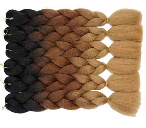 Onetree Haarverlängerung, 6Pcs/Lot, Black/Brown/Light Brown (Light Purple Extensions Hair)