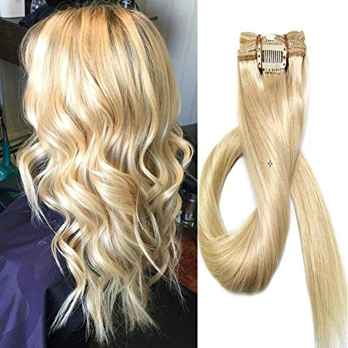 Extensions Echthaar Clip in 7 Stück 22 Zoll Silky Straight Weft Clips Haarteile Echthaar Remy Human Hair 55cm-70g(#613 Hell-Lichtblond,22Zoll/55cm)