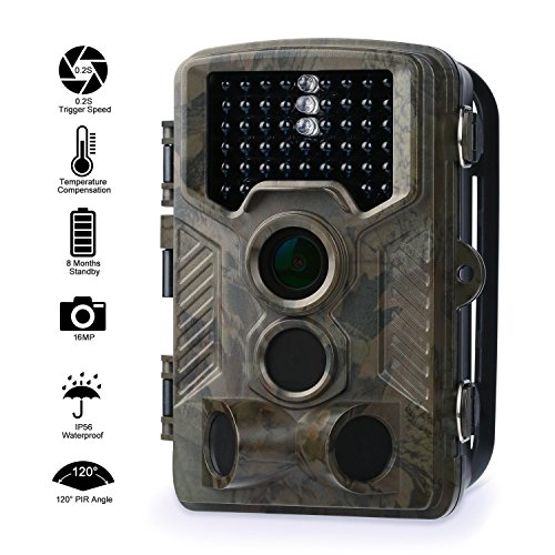 Caméra de Chasse Fivanus 16MP 1080P HD Caméra Animaux de Surveillance 120°Grand Angle Imperméable IP56 Piège Photographique 20M Vision Nocturne Infrarouge 46 LEDs IR Basse Luminosité Camera de Surveillance