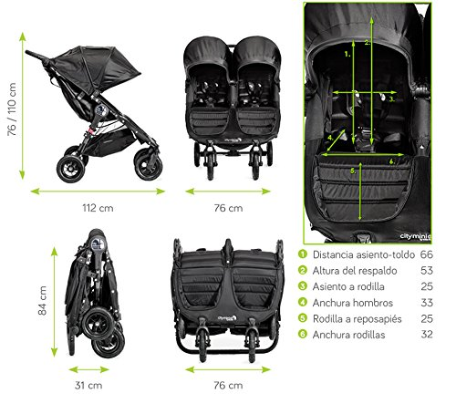 Baby Jogger City Mini GT Double Stroller Black  Taking a little detour is fun, the City Mini GT Double offers all-terrain wheels that let you make your own rules; the all-terrain wheels and front wheel suspension work in unison to give you full control on where and how you go while keeping your little one comfortable Lift the straps and the City Mini GT Double folds itself: Simply and compactly, it really is as easy as it sounds; the auto-lock will lock the pushchair for transportation or storage An adjustable handlebar can accommodate different heights and a hand-operated parking brake keeps all the controls within reach 11