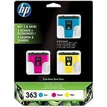 HP Paquete de 3 cartuchos de tinta amarillo/magenta/cian HP 363 363 Ink Cartridges, 0.074 kg (0.163 libras), 17,2 x 36 x 21,2 mm