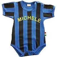 Zigozago - Body Spielanzug Baby mit schwarzen und blauen Streifen INTER - 100% Baumwolle