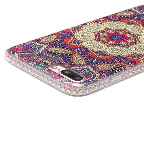 Custodia Cover per iPhone 7 Plus 5.5, JAWSEU Ultra Slim Morbida Soft Custodia Cover Case per iPhone 7 Plus in Gel TPU Silicone Cristallo di lusso di Bling di scintillio lucido Diamante Scintilla per i Totem #6
