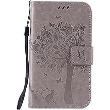 Guran® Funda de Cuero Para Samsung Galaxy Grand Neo Plus / Grand Neo (i9060) Smartphone Función de Soporte con Ranura para Tarjetas Flip Case Cover-gris