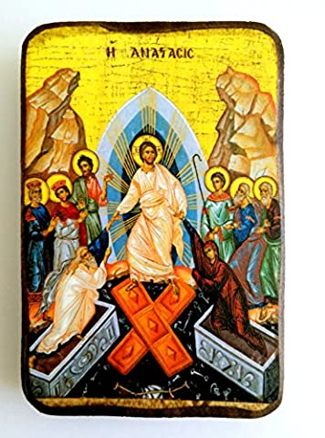 Wooden Greek Christian Orthodox Wood Icon of the Resurrection /