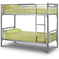 Julian Bowen Atlas Bunk Bed Aluminium Finish Complete With 2x Mattresses