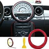 Tiras de ajuste de molduras interiores del coche - AUTOMAN 16.4ft Gap Filtros de relleno Tiras Auto Universal Decoraciones Automóvil bricolaje Gap Garnish con herramienta de instalación (Rojo, 5m)