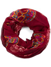 style3 Damen Loop-Schal mit bunten Totenköpfen in Paisley-Design mit Ornamenten