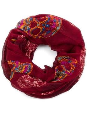 style3Mujer Bufanda de con multicolores Calaveras en Paisley de diseño con adornos