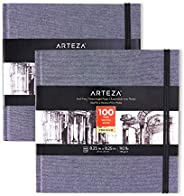 Arteza Art Sketch Book, 8.25x8.25 inch, 100 Sheets, Dusty Blue Square Linen-Bound Hardcover, 2-Pack, 110lb, 18