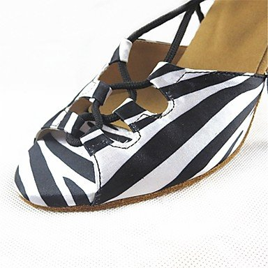 XIAMUO Anpassbare Damen Tanz Schuhe Satin Satin Latin/Modern/Ballsaal angepasste Ferse Praxis/Professional Schwarz/Weiß
