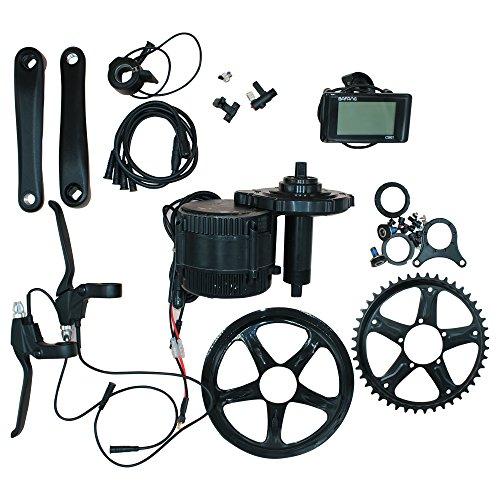 Bafang Kit de transmisión eléctrica para bicicletas de montaña, bicicletas de carretera, kit de conversión híbrida de bicicletas, kit de conversión de motor medio BBS01B 36 V 48 V 46T C961, 48V