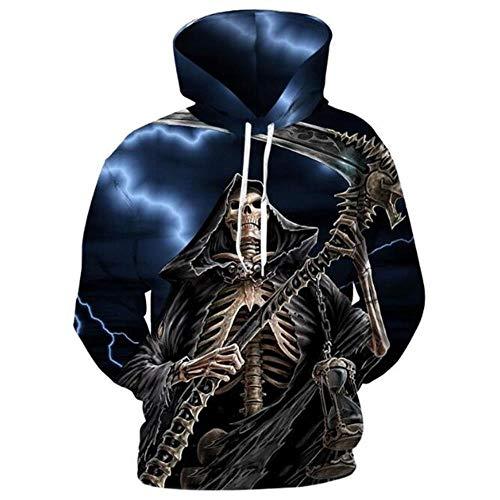 XIAOGUdeHDS 3D Männer Hoodies Knochen Schädel Sweatshirts Tod Sichel Print Pullover Harajuku Lose Streetwear Hipster Männlichen Mantel Mit Kapuze, XXXL - Schädel Knochen-grafik