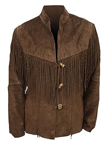 classyak Veste de cowboy western à franges en daim Manteau