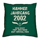 Hammer Jahrgang 2002 Sprüche Kissen 40x40 für die ganze Familie Geschenk zum 16 Geburtstag Geburtstagsgeschenk Sohn Tochter : dunkelgrün