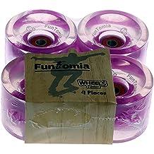 4 x FunTomia - Longboard LED wheels ruedas 70 x 51 mm 80A - con 8 x Mach1 ® rodamientos ABEC-11 o + 1x T-Tool + 2x eje