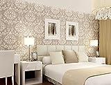 Rureng Modernes Klassisches Luxus-3D Prägeartige Blumendamast-Tapete Beflocktes Nichtgewebtes Tapetenpapier Für Schlafzimmer-Wohnzimmer U. Fernsehhintergrund Grau