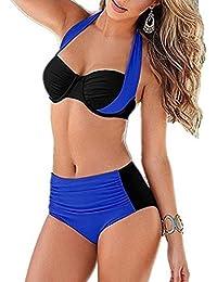 YAANCUN Mujeres Verano Cintura Alta Vintage Push Up Bikini Traje De Baño Beachwear Talla Alta