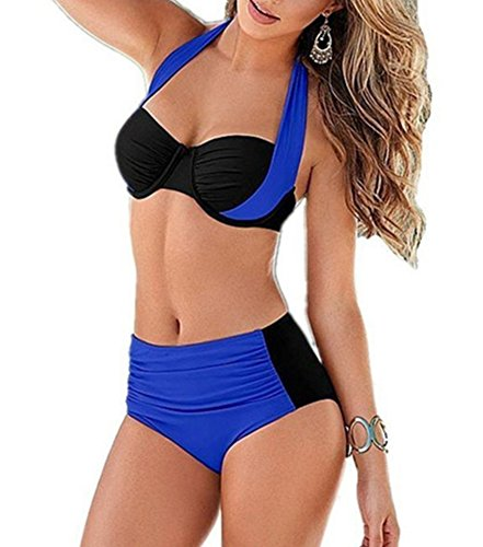 YAANCUN Mujeres Verano Cintura Alta Vintage Push Up Bikini Traje De Baño Beachwear Talla Alta 2XL